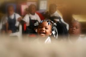 Schoolchild laughing